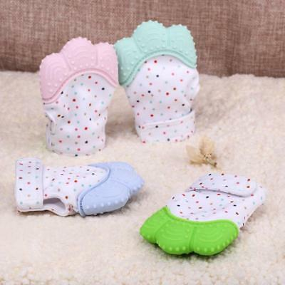 Baby Teething Mitten Teething Glove Against Eat Finger Wrapper Molar Silicone JA
