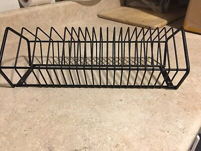 Vintage Heavy Wrought Iron Record Holder Rack.  20 Slots Wall Or Surface Mount