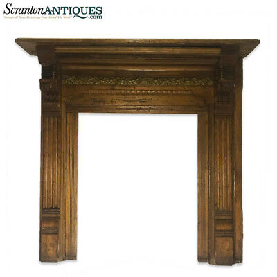 Antique Architectural Early American Victorian Carved Wood Fireplace Mantel
