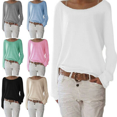 Women Spring Long Sleeve Tee Top T-Shirt Blouse Cotton+Polyester Loose Plus Size