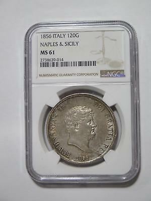 Italy 1856 Naples & Sicily 120 Grana Ngc Ms61 Silver World Coin Collection Lot