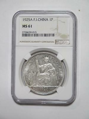 French Indo China 1925A 1 Piastre Type Ngc Ms61 Silver World Coin Collection Lot