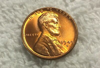1949-D Lincion Wheat Cent Unc Pulled From Obw Roll From Old Safe Collection Wow
