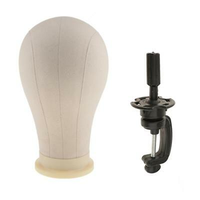 """23"""" Canvas Cork Block Mannequin Head + Clamp Hairpieces Wigs Making Display"""