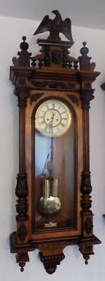large walnut cased double weight vienna wall clock c1900s