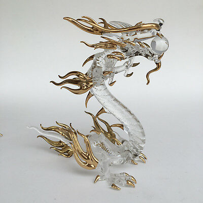 Standing Chinese Dragon Glass Figurines Golden Painted Home Gift Decoration