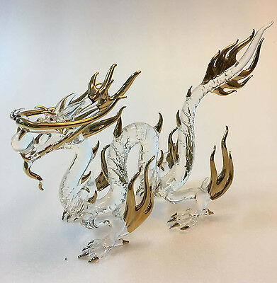 Chinese Dragon Figurines Glass Golden Painted Gift Lucky Item Home Decoration