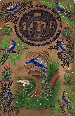 Indian Blue Green Feather Peacock Art Handmade Stamp Paper Nature Bird Painting