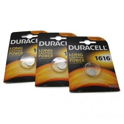 3x Duracell CR1616 3V Lithium Button Battery Coin Cell DL/CR/BR 1616 Expiry 2026