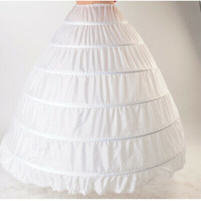 3-Hoop Lace Chiffon Long Dress Wedding Gown Crinoline Petticoat Underskirt Slips