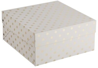 Cardboard White Cake Box With Gold Polka Dots 10inch (25cm) & 12inch (30cm)