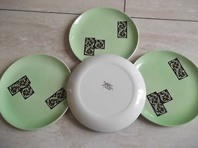 Carlton Ware Tea Plates. Pale Green, Hand engraved and painted. x 4 plates