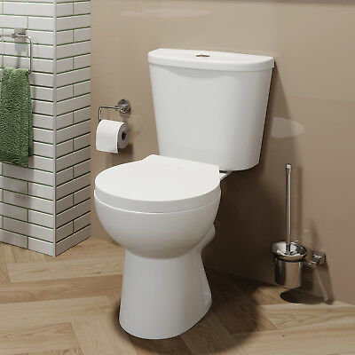 Close Coupled Toilet Ceramic Toilet WC Bathroom Pan Cistern & Soft Close Seat