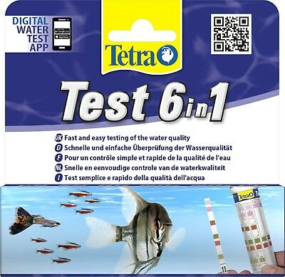 Tetra Test Strips 6 in 1 Aquarium Water Ph Tester Fish Tank Test Kit 25 Pack New