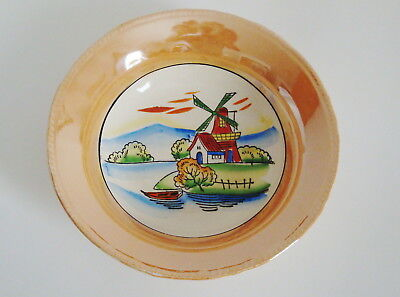 """Serving bowl lusterware with Windmill Scene 9-1/4"""" round Vintage Japan"""
