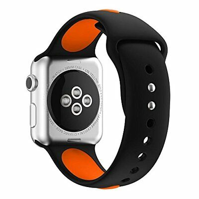 Watch Band For Apple Series 1/2/3 Silicone Replacement Strap-42mm Black/Orange