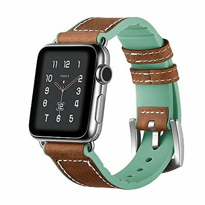 Watch Band For Apple Series 1/2/3 Leather/Silicone Replacement Strap-42mm Green