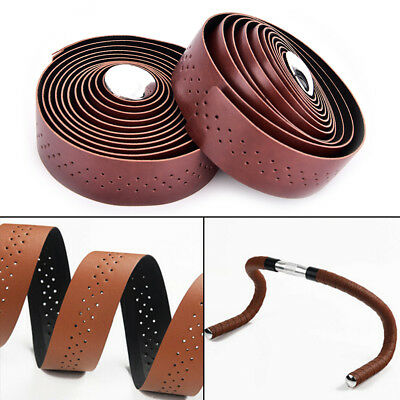 2pcs Cycling Road Bike Sports Handlebar Tape Faux Leather Wrap +2 Bar Plug MO