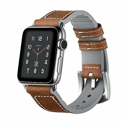 Watch Band For Apple Series 1/2/3 Leather/Silicone Replacement Strap-42mm Gray
