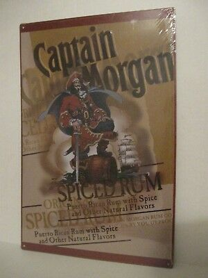 """Metal Captain Morgan Spiced Rum Sign Tin 12""""x18""""  ( NEW IN PLASTIC WRAP )"""