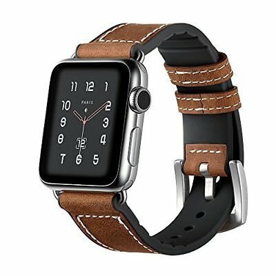 Watch Band For Apple Series 1/2/3 Leather/Silicone Replacement Strap-42mm Black