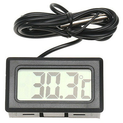 5X LCD Digital Fish Aquarium Thermometer Water Terrarium Black FREE Batteries