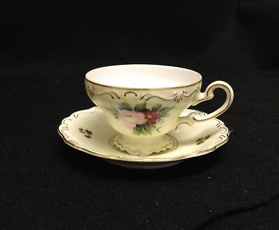Vintage Occupied Japan ~ Hand Painted China Tea Cup And Saucer With Gold Trim