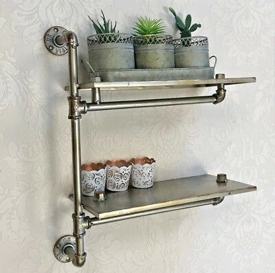 Silver Metal Industrial Pipe Wall Shelf Shelves Warehouse Style Hallway Storage