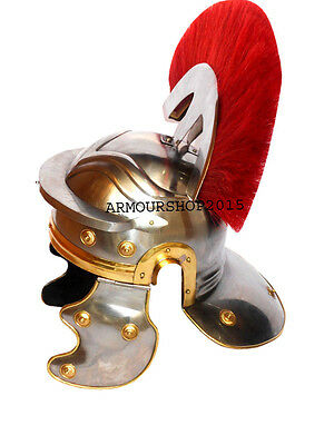 Ancient Roman Centurion Armor Helmet Red Side Plume Collectible Medieval