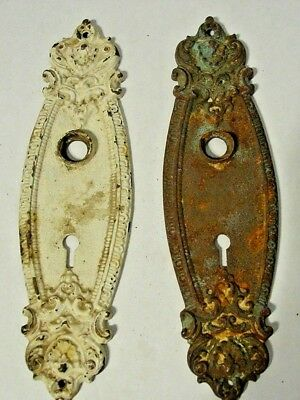 2 Antique Victorian Cast Door Back plates With Skeleton Keyhole Reclaimed Rust