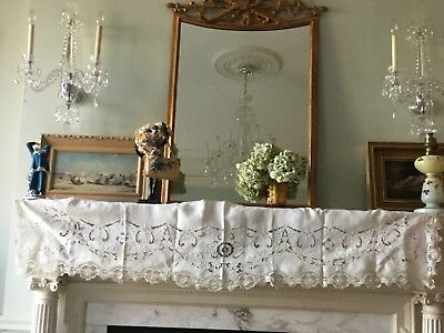 antique 1880 Hand Embroidered Linen French Side table , Mantelpiece Top,Lace