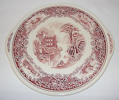 """Vintage English Ironstone Pottery Pink Victorian Style 12"""" Cake Plate Tray Plate"""