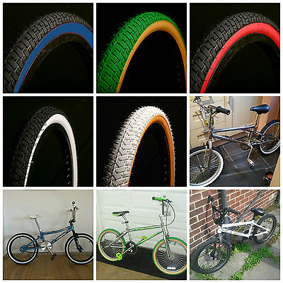 2 Of Coloured Bmx Tyres Black Blue Wall White Gumwall Red Green 20 X 2.125
