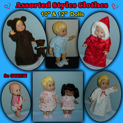 """Assorted Style CLOTHES for 10"""" & 12"""" Baby Dolls Handmade by the Crafty Grandmas"""