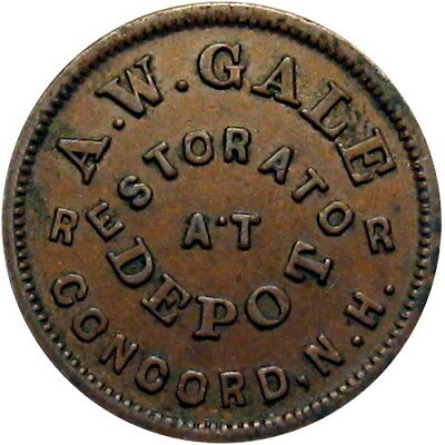 Concord New Hampshire Civil War Token A W Gale Scarce Single Variety State