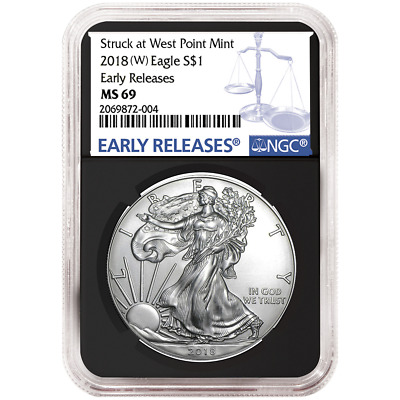 2018 (W) $1 American Silver Eagle NGC MS69 Blue ER Label Retro Core