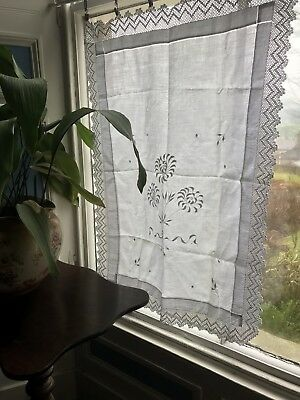 "C1900 Superb Chateau antique FRENCH white Lace CURTAIN DRAPERY 25"" /36"" Damaged"