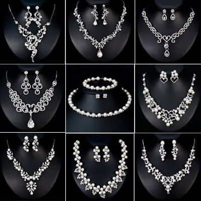 Crystal Necklace Earrings Women Jewelry Set Bridesmaid Prom Party Bridal Wedding