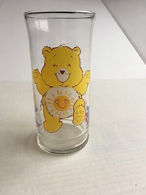 Vintage 1983 Care Bear Drinking Glass Funshine Bear Collector's Series Pizza Hut