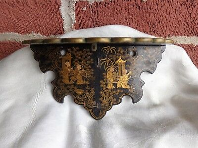 OLD 19th C JAPANESE CHINOISIERE BLACK LACQUER & GILT PAPIER MACHE FOLDING SHELF