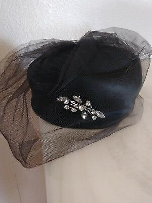 Vintage Black Pill Box Hat from J.L. Hudson Detroit Vtg Veil Pin Rhinestones
