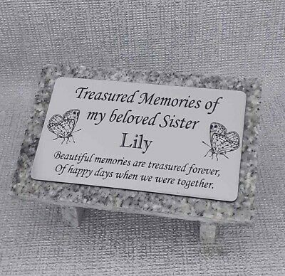 Laser Etched Personalised Grey Granite Memorial Grave Plaque Stone Ornament