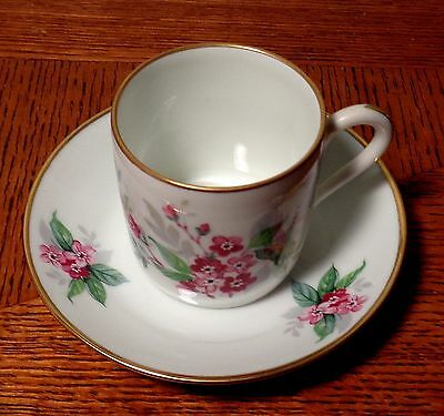 Limoges France Hand Painted Demitasse Cup & Saucer Red Flowers