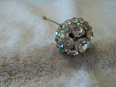 Vintage Large Hat Pin, Victorian Style, Gold Tone Metal, Crystals