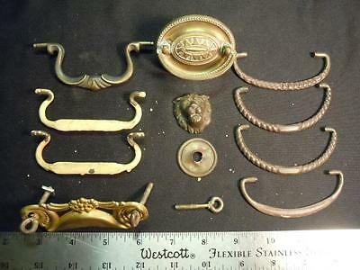 Xk]  12 Pc Lot Of Antique Brass Drawer Pull Parts - Intricate & Ornate Designs