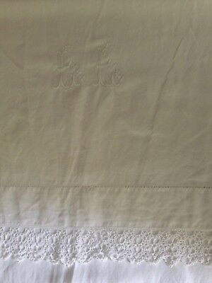 French Linen Sheet, Heavy with Monogram, Ladderwork and Lace Edging 92 x 132