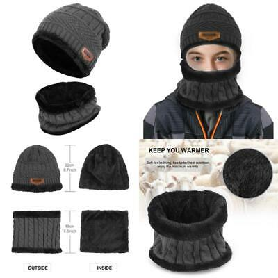 Vbiger Kids Warm Knitted Hat and Circle Scarf with Fleece Lining, for Boys and G