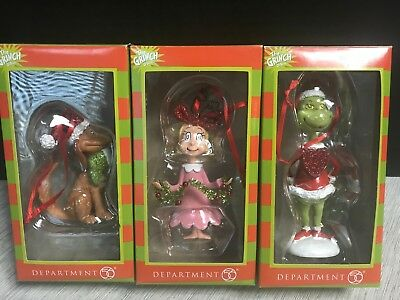 Department 56 Dr. Seuss The Grinch Cindy Lou Who Max Ornaments