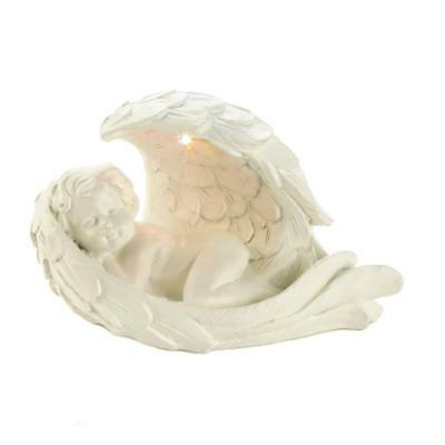 Sleeping Baby Angel in WIngs Cherub Lighted Solar Statue Figurine