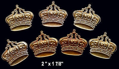 Vintage Brass Stamping  Embossed Ornate Large Crown /  1 pc.